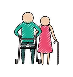 color crayon silhouette of pictogram elderly vector image