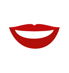 Colorful silhouette of red lips with teeths vector