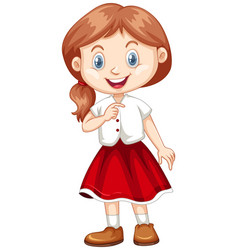 Cute girl in white shirt and red skirt vector