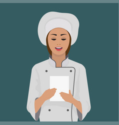 Girl cook keeps a piece of paper vector