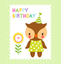 Greeting card with cute owl vector