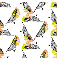 Hand drawn abstract seamless pattern with vector