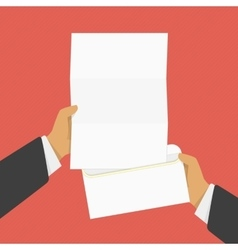 Hand holding opened envelope vector image vector image