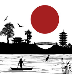 Japanese scenery poster vector