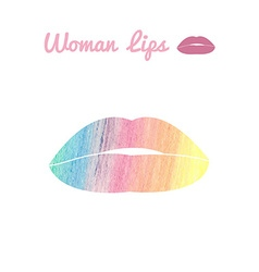 lips logo or icon in eps by color pencils vector image vector image