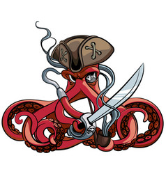 Octopus the pirate vector