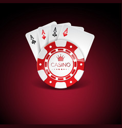 on a casino theme with red playing chips and vector image vector image