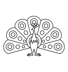 Peacock icon outline style vector image vector image