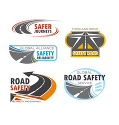 road and traffic safety service symbol set design vector image vector image