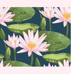 Seamless pattern with water lily flowers vector