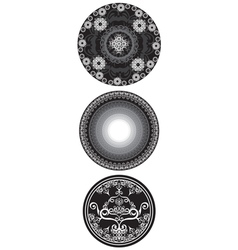 Set of black and white mandala vector image vector image