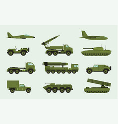 Set of different military transport modern vector