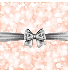 Shiny pink background with gift silver bow vector