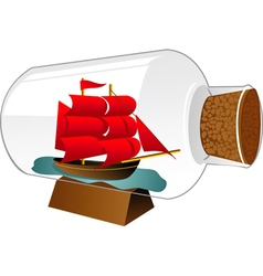 Ship boat in a bottle vector
