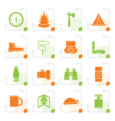 Stylized tourism and holiday icons vector