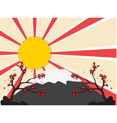 Sun with mount fuji vector