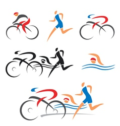 Triathlon cycling fitness icons vector