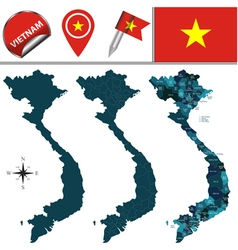 Vietnam map with named divisions vector
