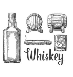 whiskey glass with ice cubes barrel bottle cigar vector image vector image