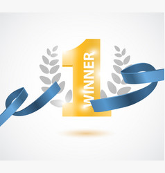 Winner number one background with blue ribbon vector