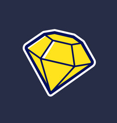 yellow diamond icon in cartoon style vector image