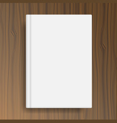 Book cover template on wood texture table vector