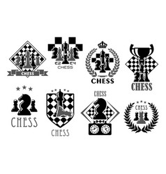 Chess club and game contest icons vector