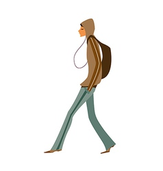 Side view of man walking vector