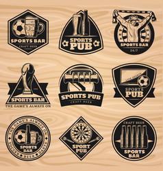 Black vintage sport bar labels set vector
