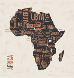 Africa vintage detailed map print poster design vector