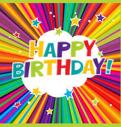Happy birthday postcard comic colorful alphabet vector