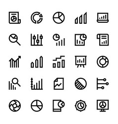 Business charts and diagrams line icons 3 vector