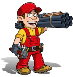 Handyman plumber red vector