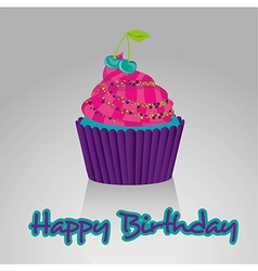 Cupcake happy birthday bright colors on white back vector