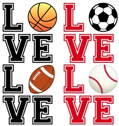 Love sport soccer football basketball baseball vector