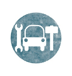 Car service sign with pixel print halftone dots vector