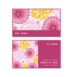 Pink field flowers horizontal stripe frame pattern vector