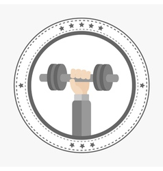 Hand holding dumbell round icon with stars sport vector