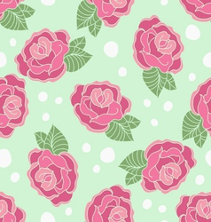 Rose seamless pattern on a polka-dot background vector