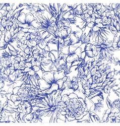 Retro Summer Seamless Monochrome Floral Pattern vector image