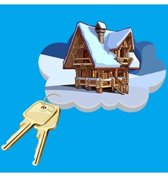 Wooden house on a cloud with keys vector