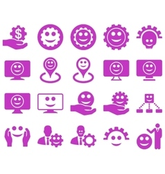 Tools gears smiles map markers icons vector