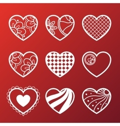 Set of white heart icons vector