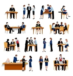 Business lunch pause flat icons collection vector