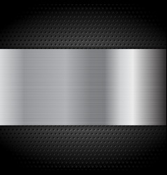 Metal texture plate on perforated background vector