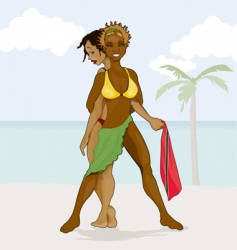 Girls on beach vector