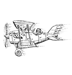 biplane cartoon vector image