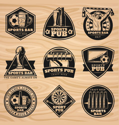 Black vintage sport bar labels set vector