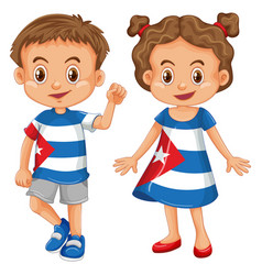 Boy and girl wearing shirt with cuba flag vector