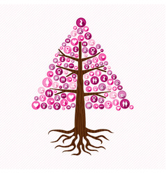 Breast cancer awareness pink health icon tree art vector